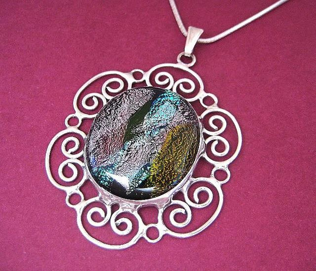 Handcrafted dichroic fused glass pendant