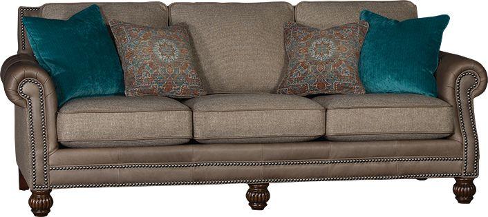 Mayo Furniture 4300LF Leather/Fabric Sofa Ocala Pecan