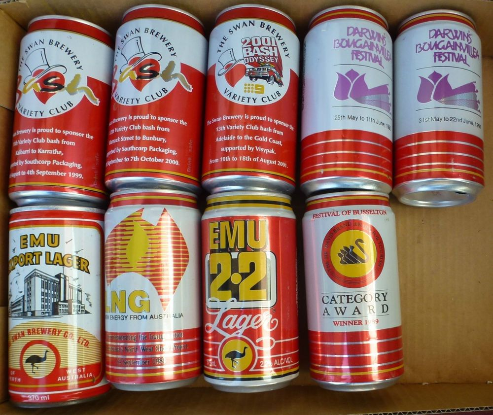 Nine Different Emu Export 2 2 Beer Cans Some Commemorative Western Australia Canning Beer Can Collection Beer