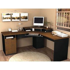 Hampton Corner Computer Desk in Tuscany Brown & Black by Bestar