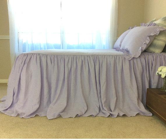 Lavender Purple Linen Bedspread Purple Ruffle Bedding Custom Bed