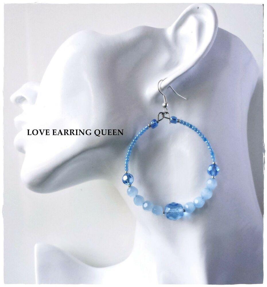 Blue crystal hoop earrings light blue beaded hoop earrings