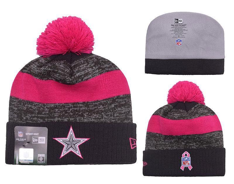 Men s   Women s Dallas Cowboys New Era Heather Gray 2016 Breast Cancer  Awareness Sideline Cuffed Pom Knit Beanie Hat dc0c8a618e6