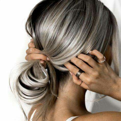 Silver Hey Streaks On Fall Brown Silver Hair Color Hair Styles