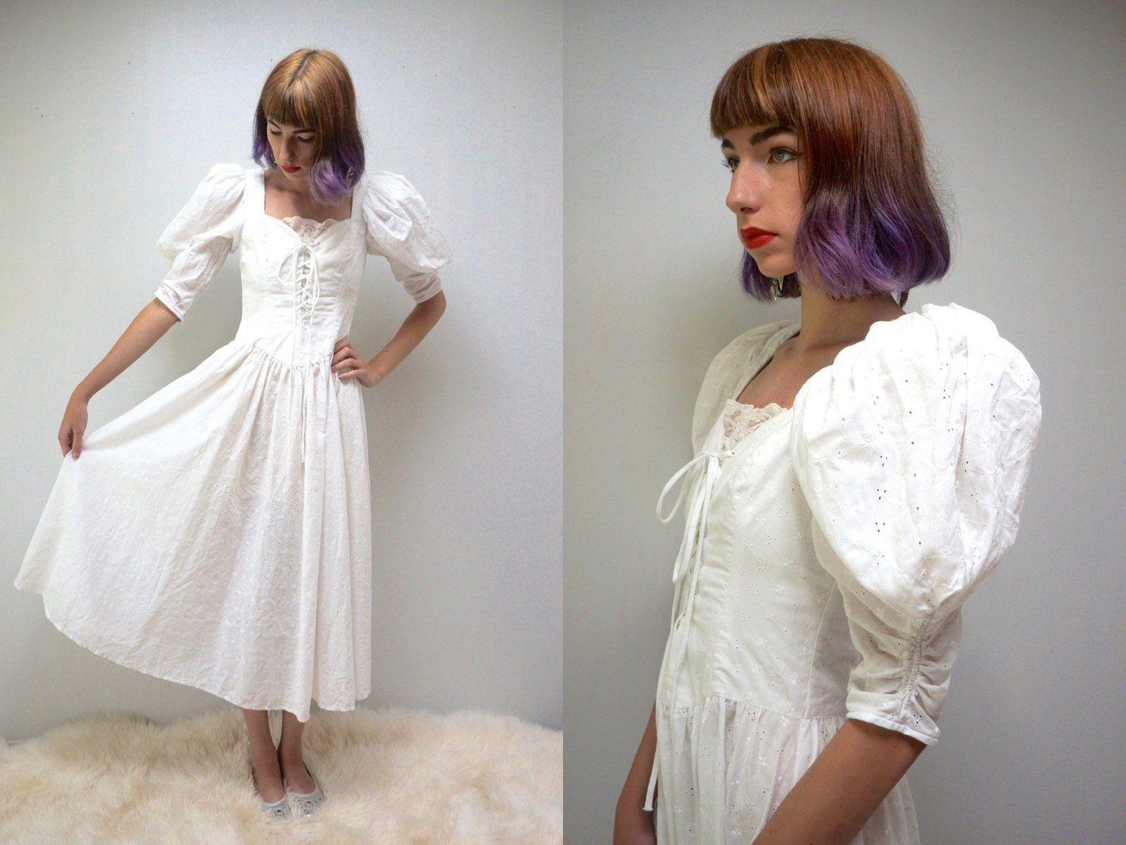 White puffy wedding dresses  Reserved PRAIRIE Dress CORSET Dress White EYELET Dress White