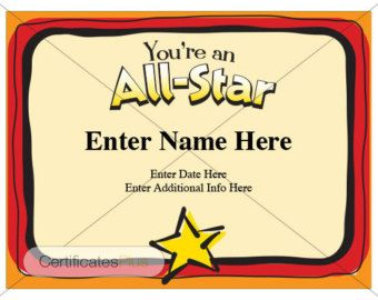 Youre An All Star Award Certificate Template