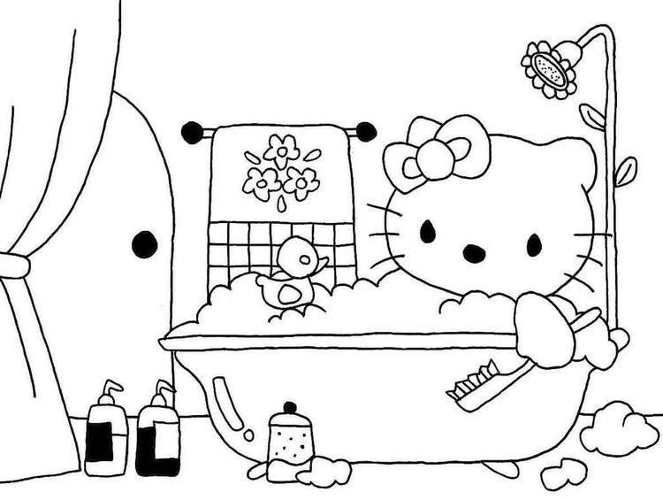 Hello Kitty Bathroom Coloring Picture Hello Kitty Coloring Hello Kitty Hello Kitty Bathroom