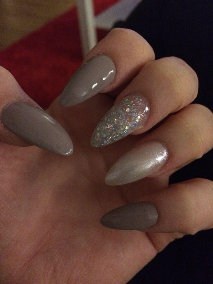 Fifty shades of gray nails inc nails glitter stiletto long pointy ...