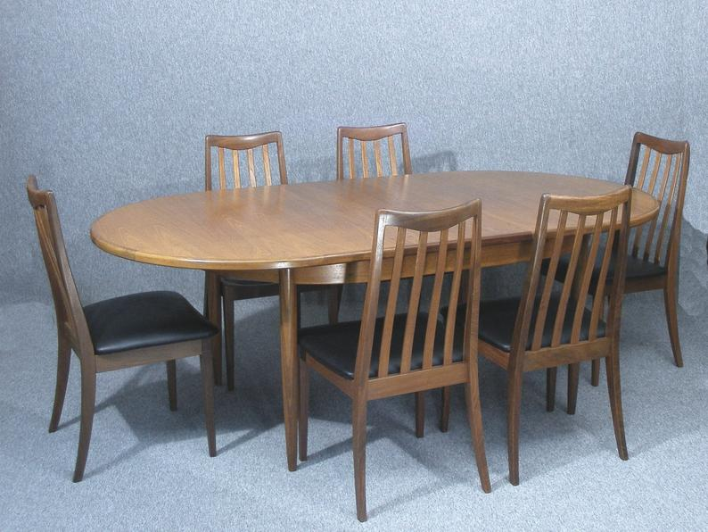 G Plan Extending Dining Table Six Chairs Vintage Teak Table And