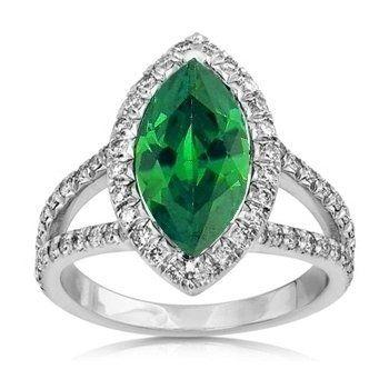 Amazon.com: 3.20Ct Marquise Cut Emerald & Diamond Engagement Ring 14K Gold: