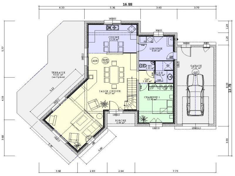 Plan De Maison Contemporaine 4 Chambres Avec Buanderie Et Garage