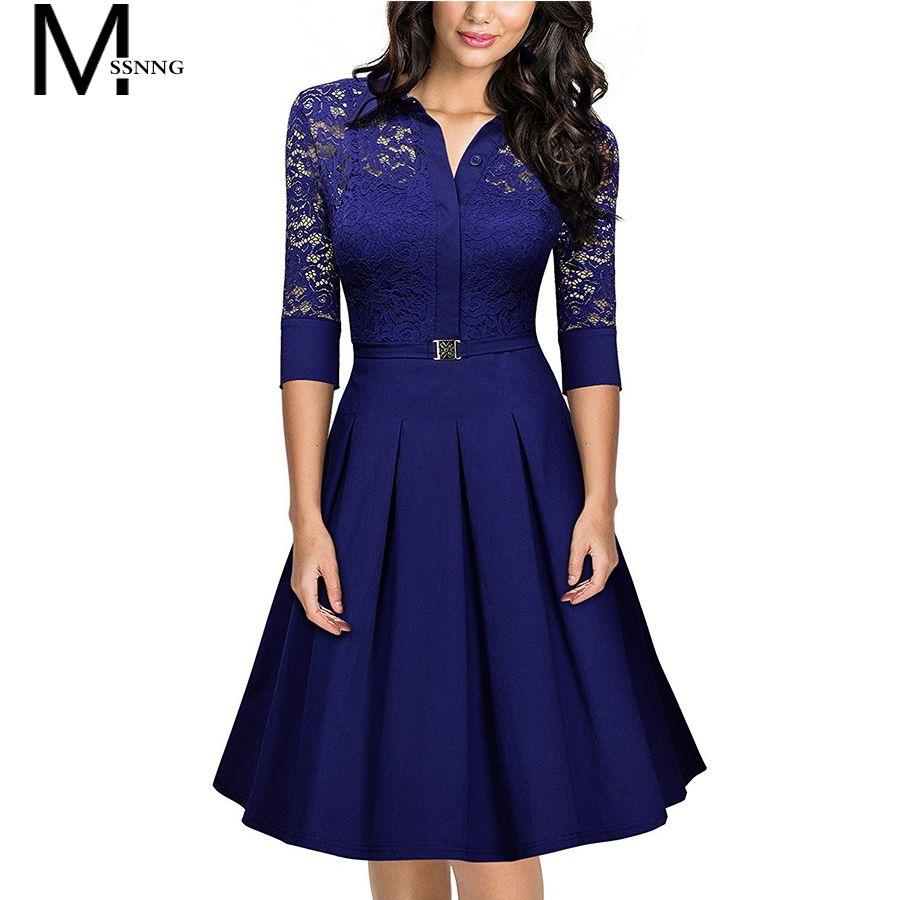 MSSNNG 2018 Dress Spring Summer Women Elegant Hallow Out Lace Plus Size  Dress Long Sleeves Party Belt Slim Dresses Vestidos Price  86.00  fashion 851a66d9492fc