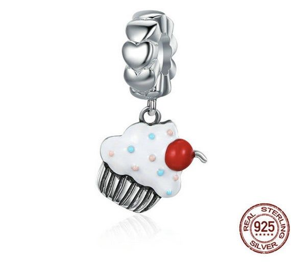Tiny Cupcake Charm Necklace Sweet Candy Jewelry *NEW* 925 Sterling Silver
