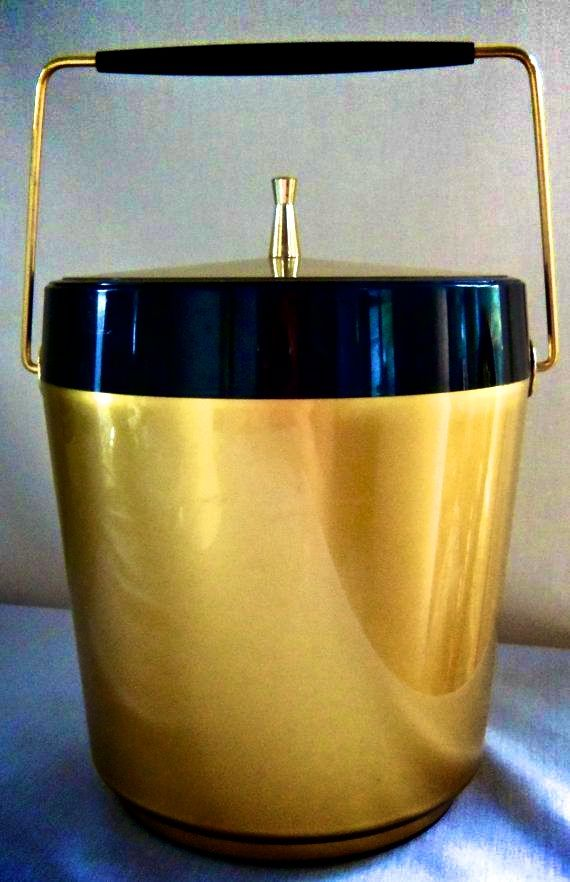 Vintage Atomic Ice Bucket Gold Black Mid Century By BeeHavenHome