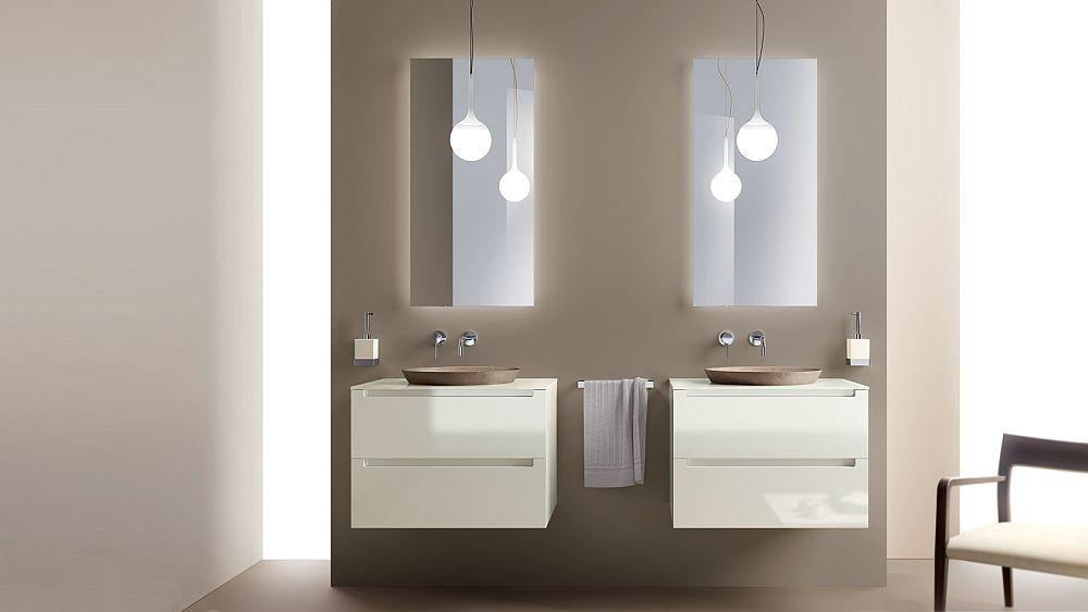 salle de bain italienne avec meubles double vasque suspendus Idro