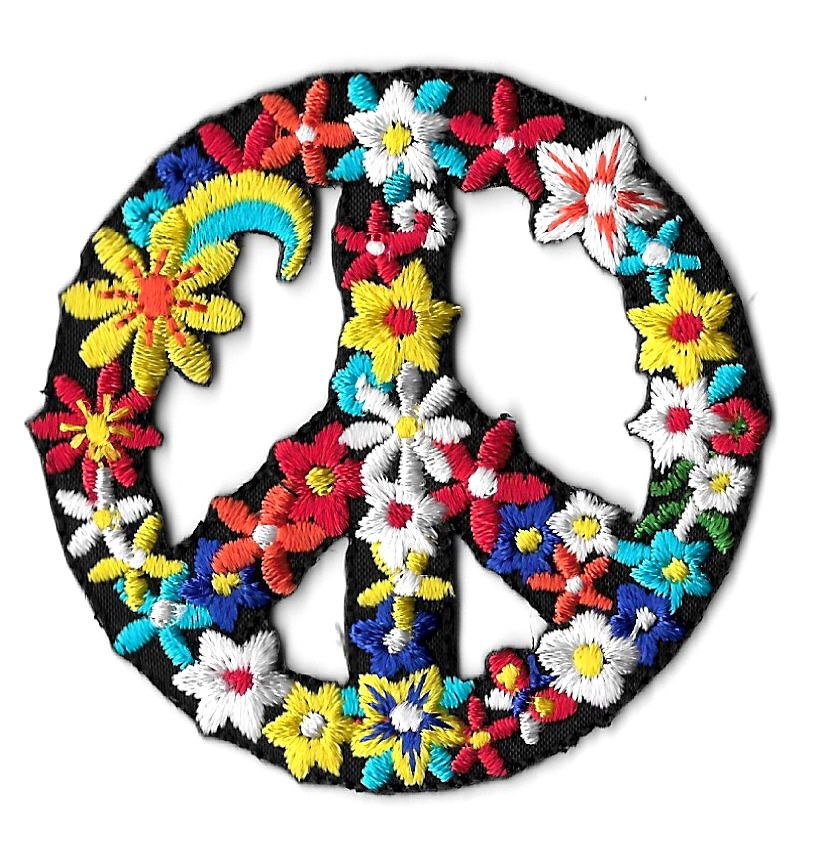 PEACE SIGN - RETRO - LOVE - FLOWER CHILD - EMBROIDERED ...