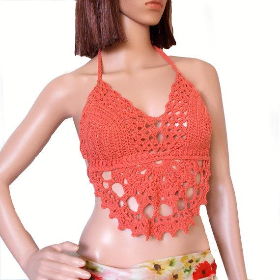 9f130a536f5a9 Festival halter top - Coral top - Crochet crop top - Halter neck top -  Backless top - Lace crop top