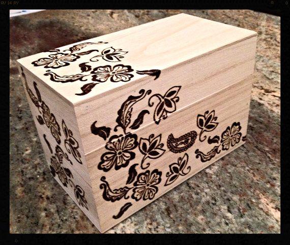 Decorative Recipe Box Decorative Wooden Recipe Box Henna Flowers & Paisleyrobnwood