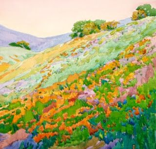 robin purcell , watercolors in the plein air tradition: New Series, California Wildflowers(Poppies) on Hills