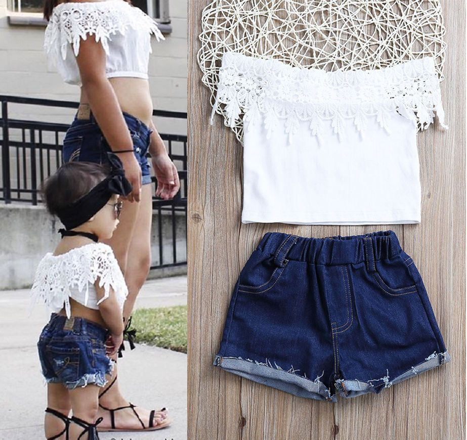 35e1867ae2 Fashion Toddler Kids Baby Girls Lace Tops Denim Hot Pants Outfits Clothes  Set