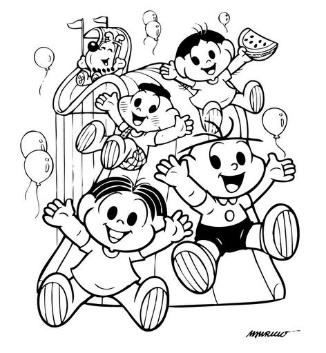 Desenho Colorir Turma Monica Desenhar E Colorir Criancas Para