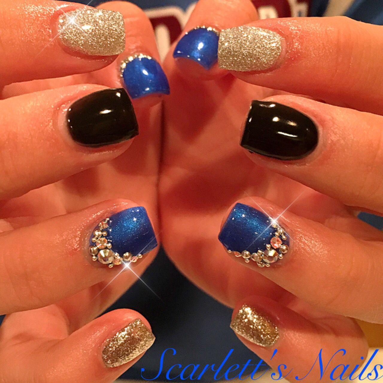 Royal Blue Black And Silver Short Square Gel Nails With Genuine Swarovski Crystals Scarlettsnails Square Gel Nails Gel Nails Blue And Silver Nails