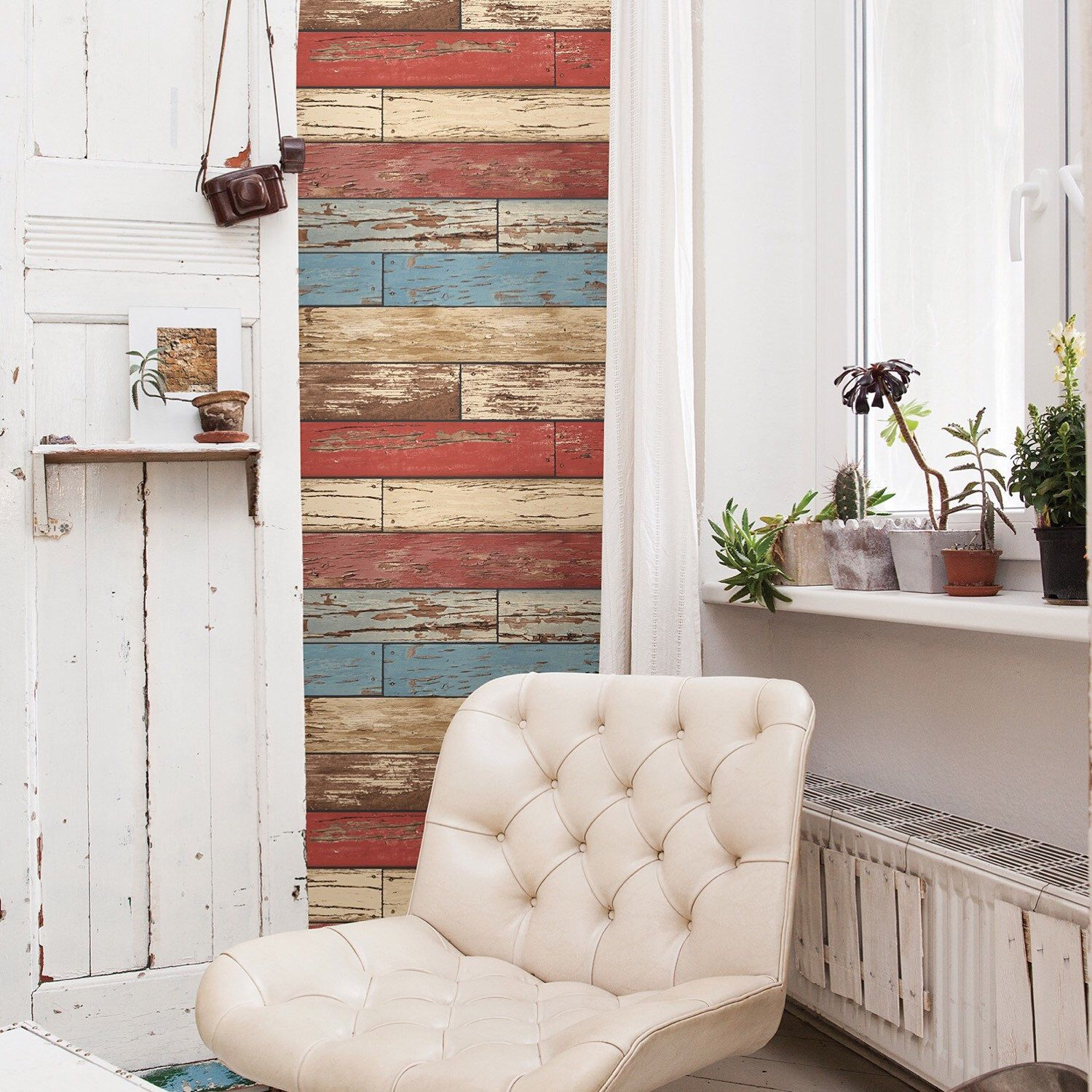A little rustic wood with red wallpaper on this Christmas weekend