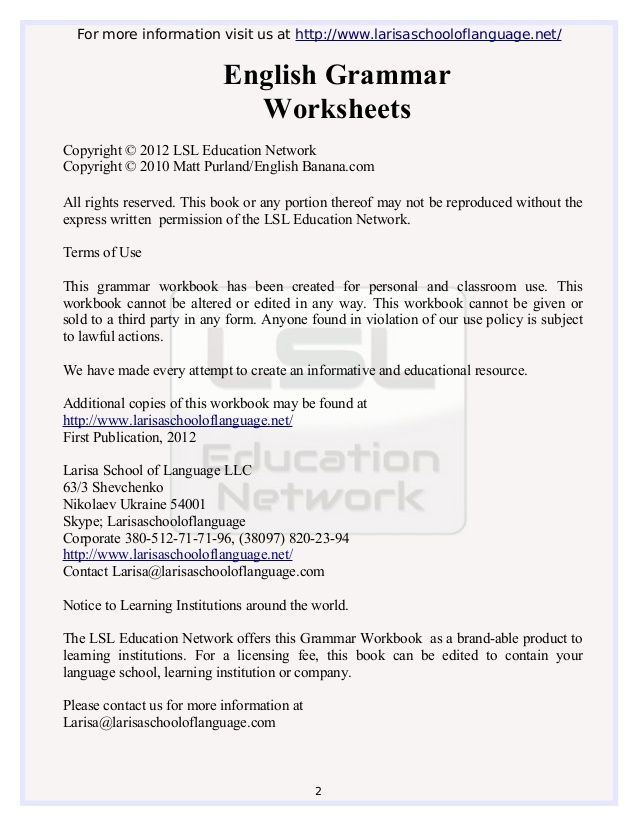 Basic grammar worksheets free download