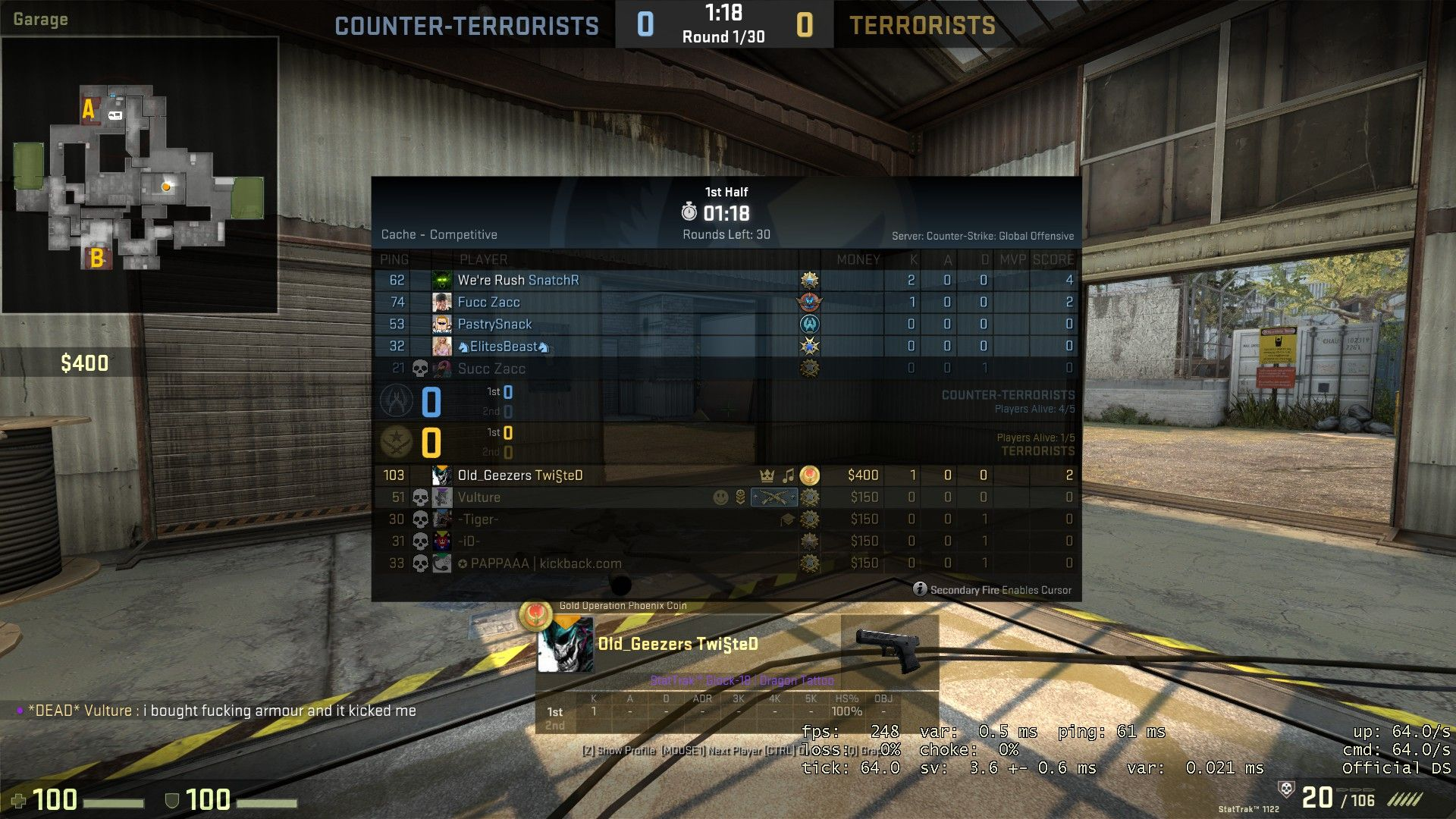 I got AFK kicked first round after warmup AFTER buying