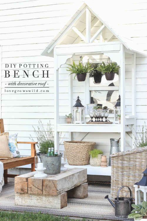 Diy Potting Bench With Decorative Roof Ideas For The