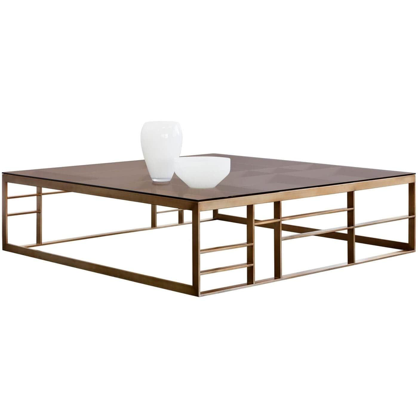 Joanna Coffee Table Square Antique Brass Brown Glass In 2021 Coffee Table Oversized Square Coffee Table Chic Coffee Table [ 1400 x 1400 Pixel ]