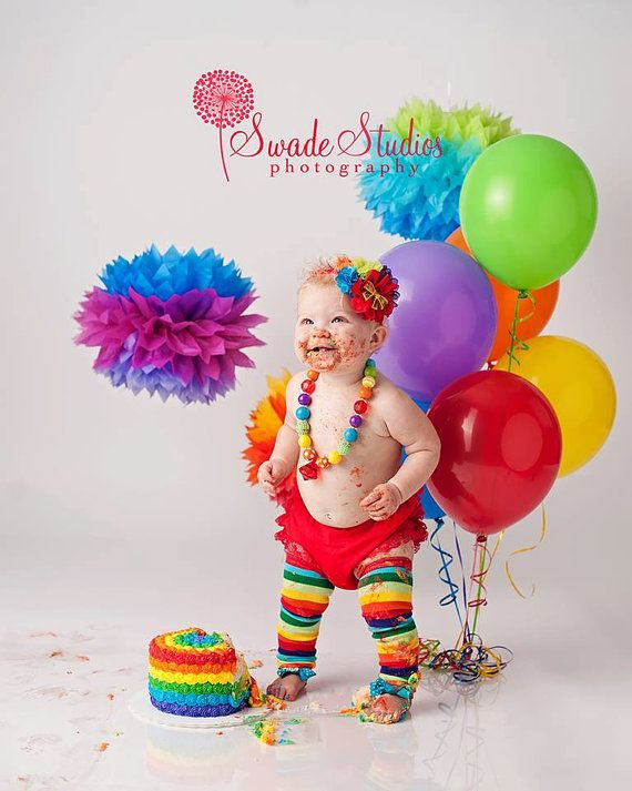 Birthday Outfit 4pc Set Red Lace Bloomers Chunky Necklace Rainbow Rocks Headband
