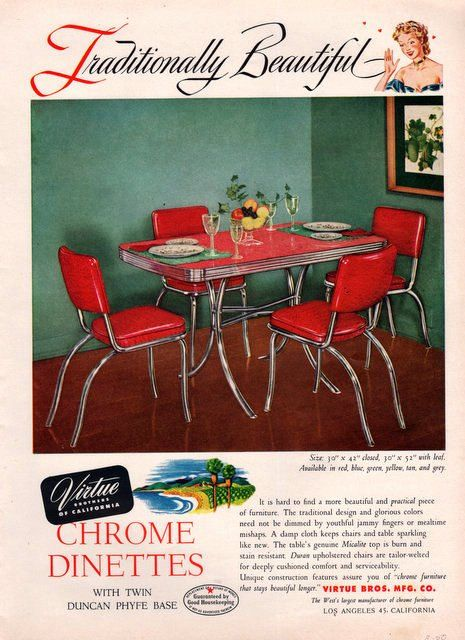 1950 Virtue Chrome Dinette Print Ad Kitchen Table In Red Mid Century Furniture Decor