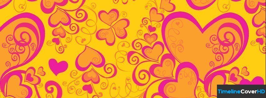 Yellow Pink Hearts Facebook Cover