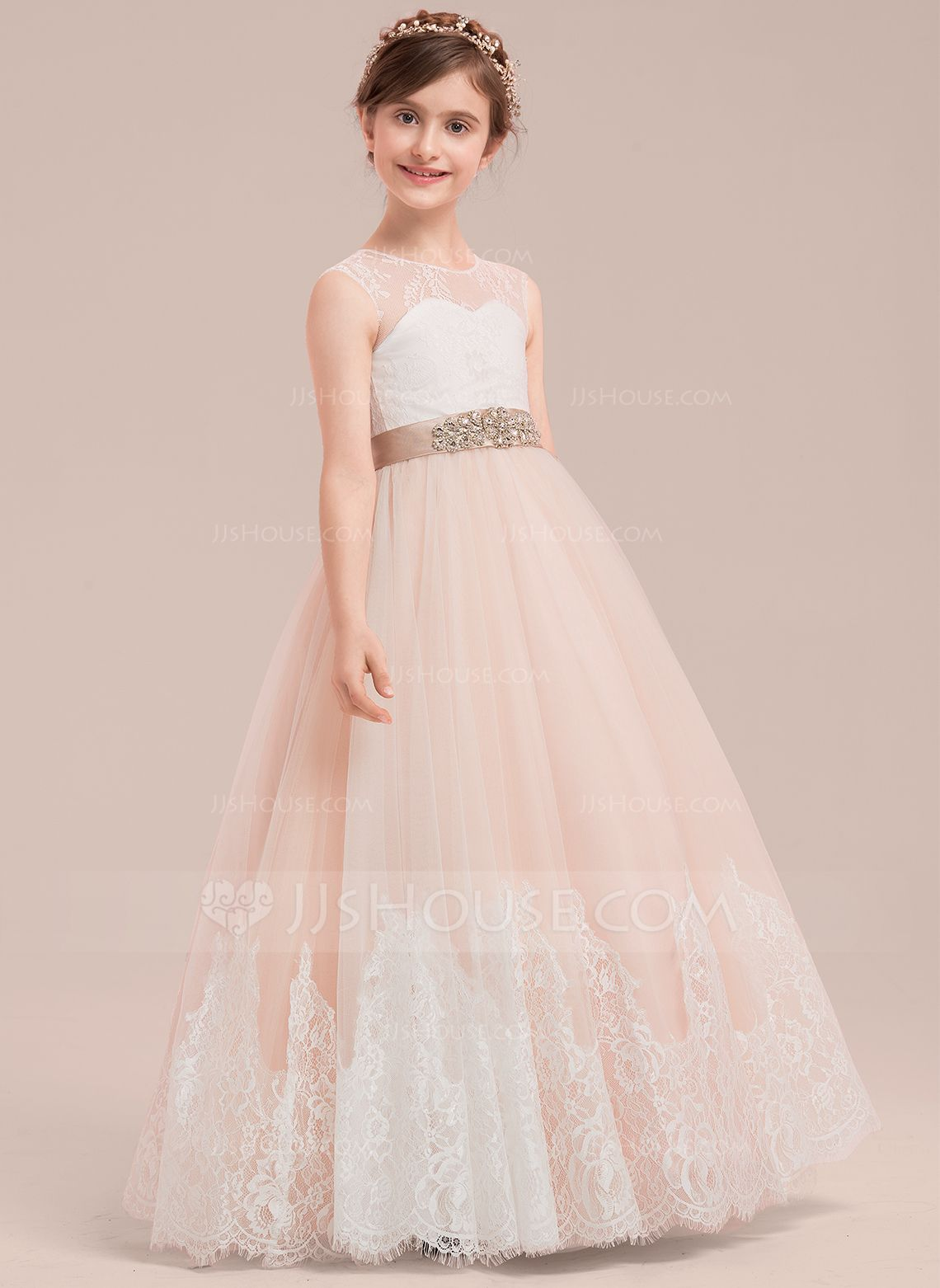 a08f7911b5 Ball Gown Floor-length Flower Girl Dress - Satin Tulle Lace Sleeveless Scoop  Neck With Rhinestone (010143277) - JJsHouse