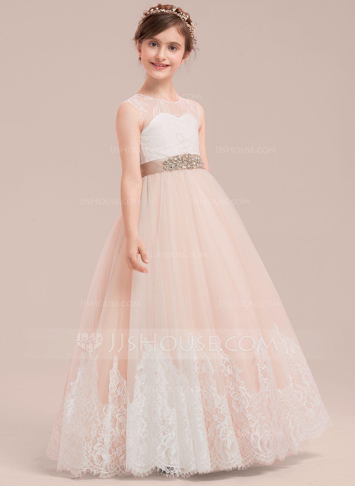 Ball gown floorlength flower girl dress satintullelace