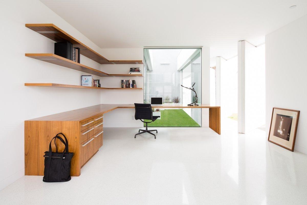 Largemoderndesignhomeofficeworktablewithwoodenshelveson - Large office work table