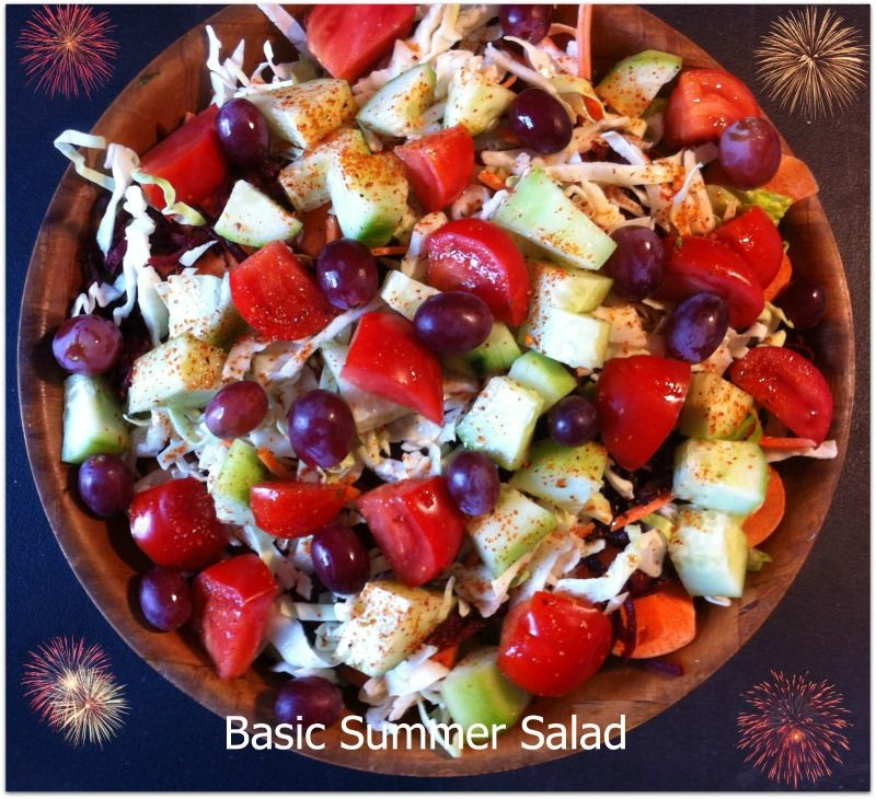 This is just a basic summer salad for 100 degree weather in sunny SoCal ~ usually I mix my greens yet today, just a bunch of Romaine (yes, the whole bunch); shredded cabbage, carrots and beets; chopped tomatoes and cukes. There are some sliced carrots as well and whole grapes. I squeezed 1/2 Meyer lemon on it and sprinkled chili powder. Delicious and refreshing!