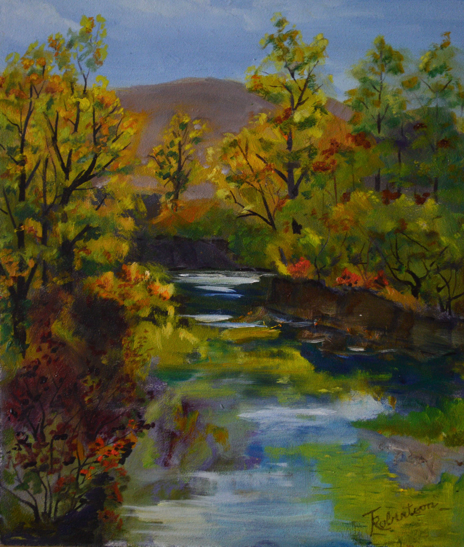 Plein air oil painting original. Fine art, fall landscape