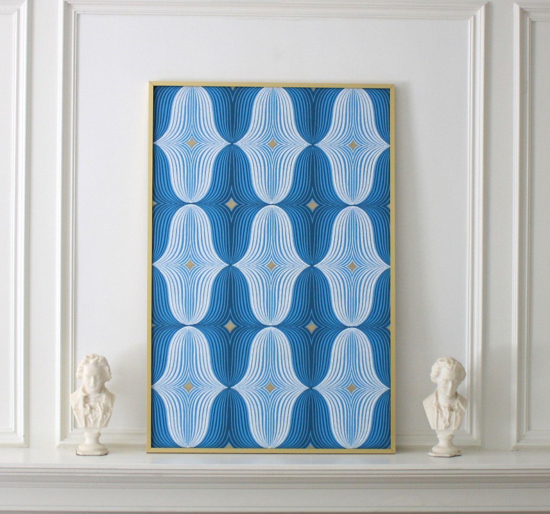 Mid Century Mod Wallpaper, Framed 1960s Blue Wallpaper, 21