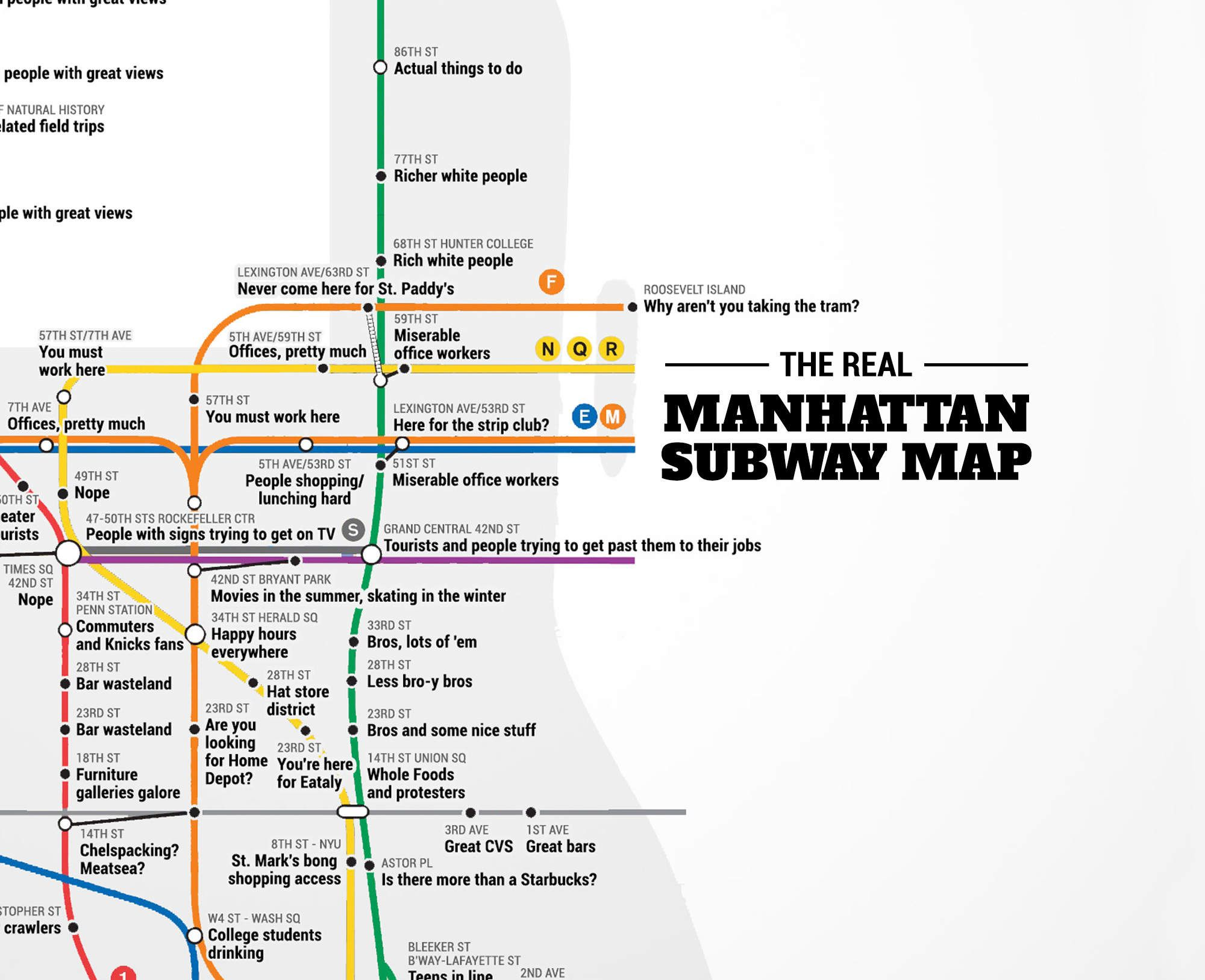 from thrillist nyc the real manhattan subway map with a guide to