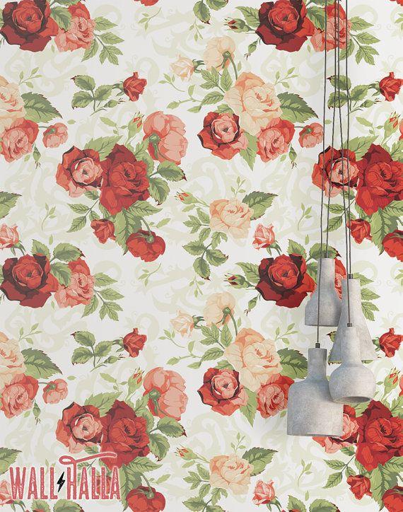 Rose Flower Wallpaper Removable Wallpaper Vintage Red Roses Flower Wallpaper Floral Print Tropical Peel And Stick Wallpaper Floral Wallpaper Wallpapers Vintage Rose Flower Wallpaper