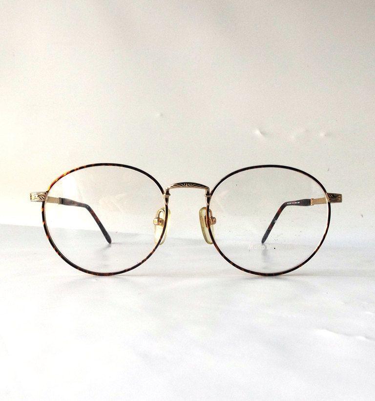 49a3c39139f6 ... round eyeglasses metal gold detailed frames brown tortoise shell modern  retro eye glasses eyewear nerd mario martinelli new by RecycleBuyVintage on  Etsy