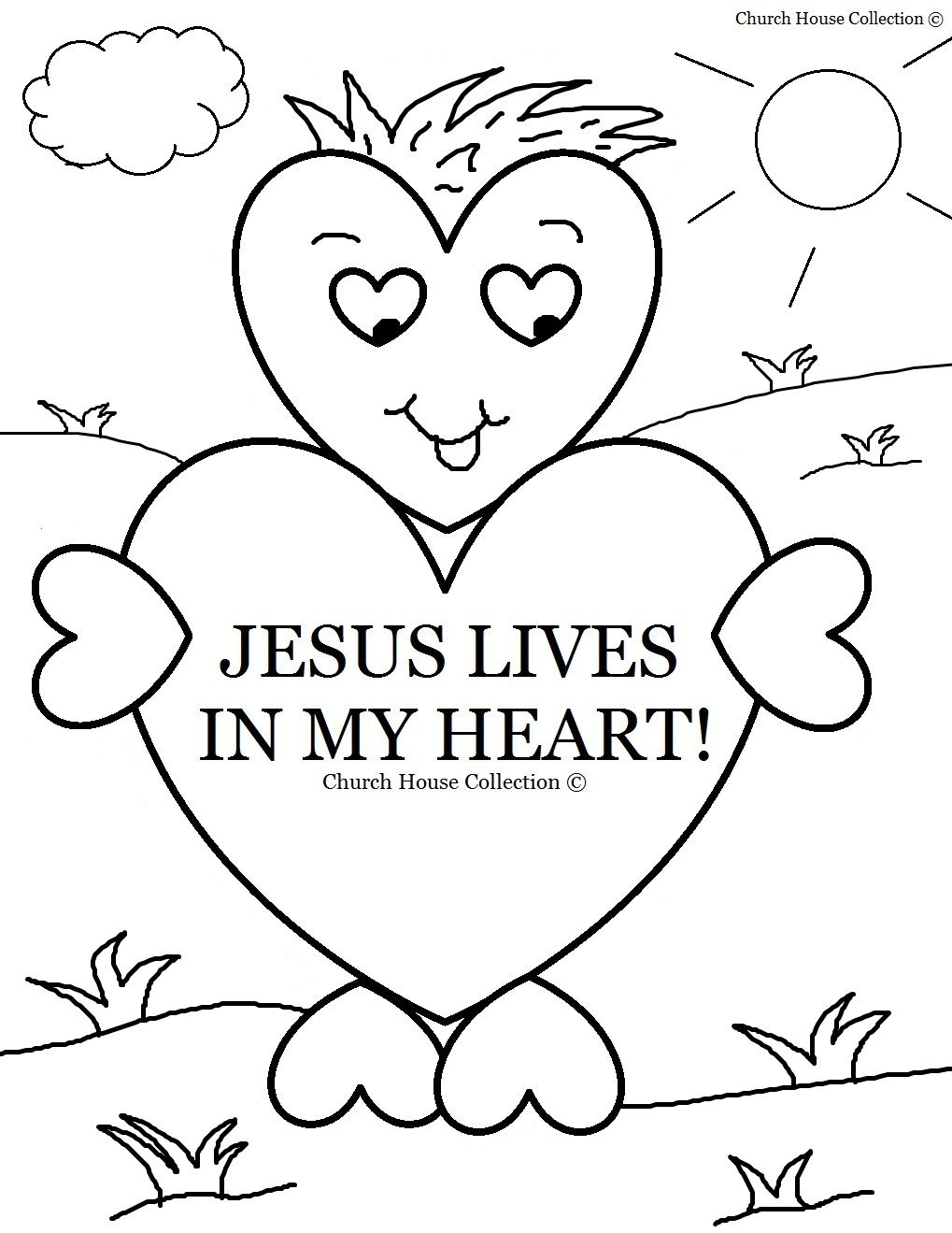 Childrens christian valentine coloring pages - Valentine S Day Coloring Page For Sunday School Jesus Lives In My Heart For Children S Church Lilly Class V Day Crafts