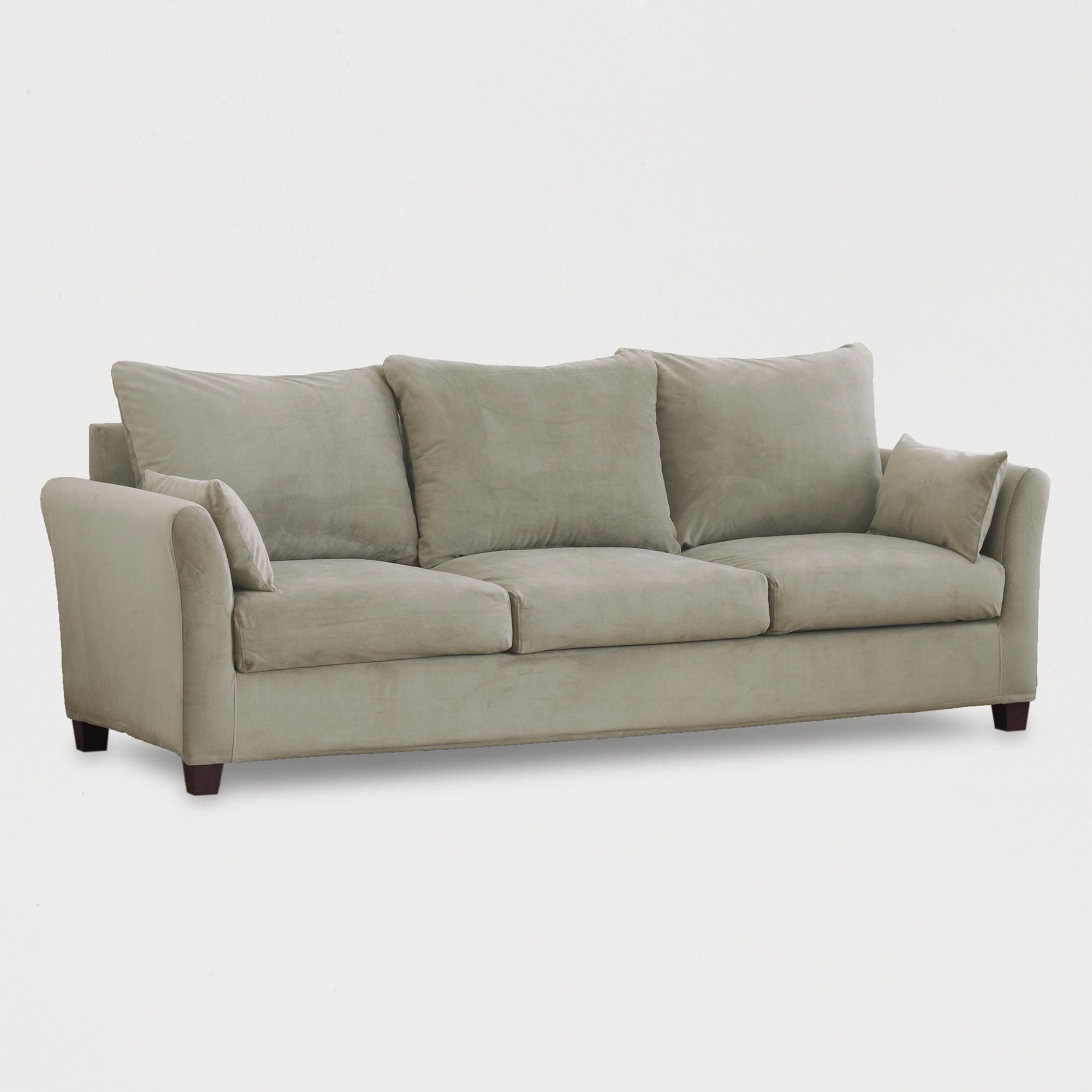 Grey Mink Luxe Three-Seat Sofa Velvet Slipcover Collection ...