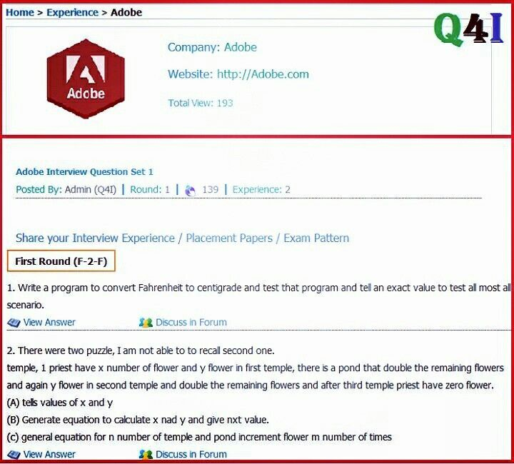 Adobe Interview Questions with Answers experience 0-3 Mode F-2-F - interview questions and answers