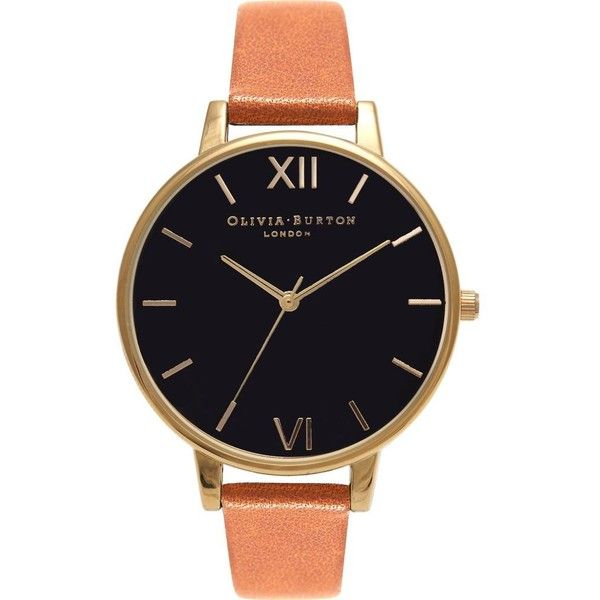 OLIVIA BURTON Big Dial leather and yellow gold-plated watch ($105) ❤ liked on Polyvore featuring jewelry, watches, yellow gold watches, leather strap watches, quartz movement watches, gold strap watches and olivia burton watches