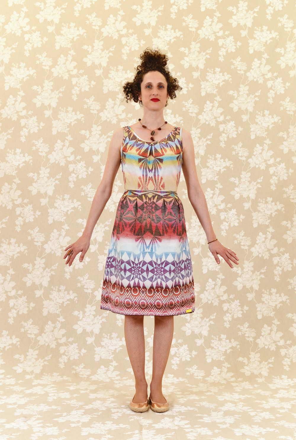 Knielange Kleider - Kleid Nina: Baumwolle, grafisch, bunt ...