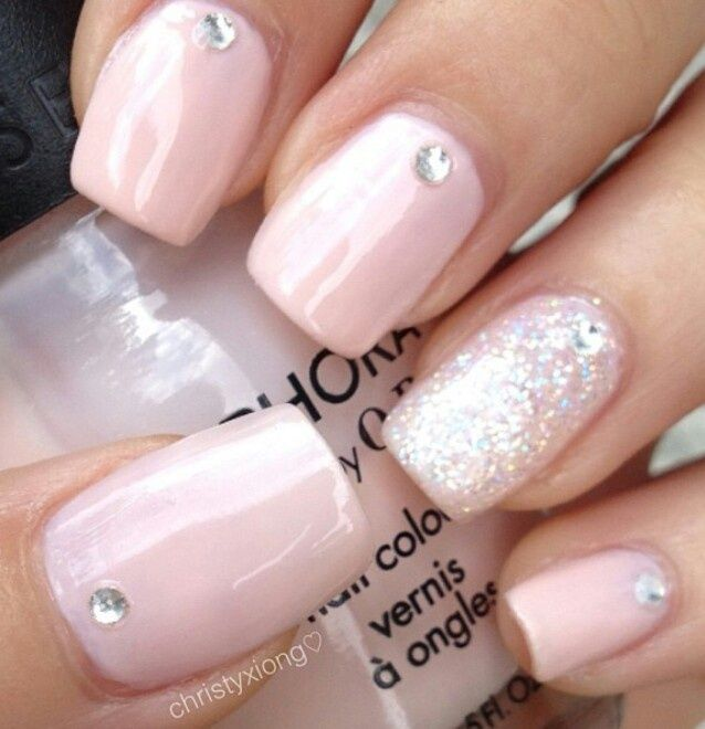 Light Pink Nails With Glitter Accent And Rhinestones Prom