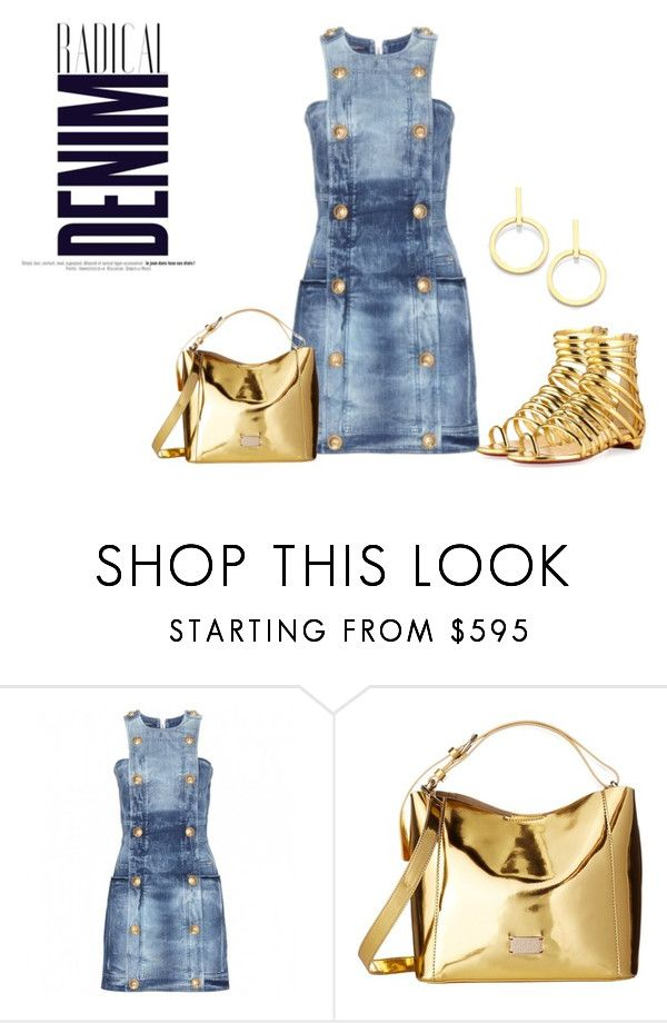 """""""Radical Denim"""" by sjlew ❤ liked on Polyvore featuring Balmain, Alima, Frances Valentine and Vita Fede"""